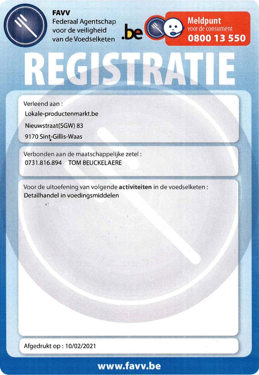 FAVV Registratie
